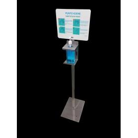 Colonnina per gel igienizzante - smart inox - con cartello info